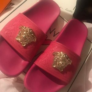 Versace slippers pink and gold